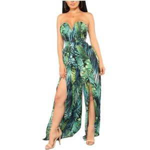 Love song green tropical wide leg jumpsuit S